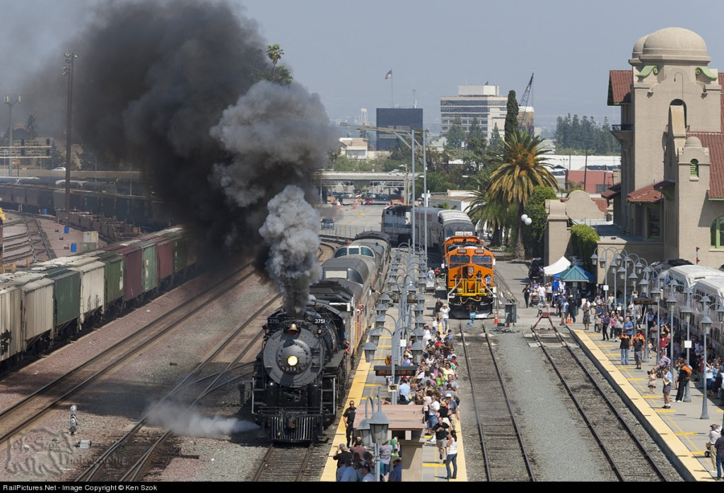 ATSF 3751 departs San Bernardino as it heads for L.A. Union Station after being on display for the weekend during San Bernardino's Railroad Days event April 22, 2012. Photo by Ken Szok.