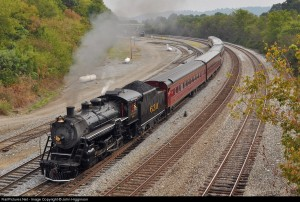 """TVRM's Southern 630 leads an excursion train on the NS mainline as part of TVRM's 50th anniversary festivities. These trips were the first in conjunction with NS's new """"21st Century Steam"""" program"""