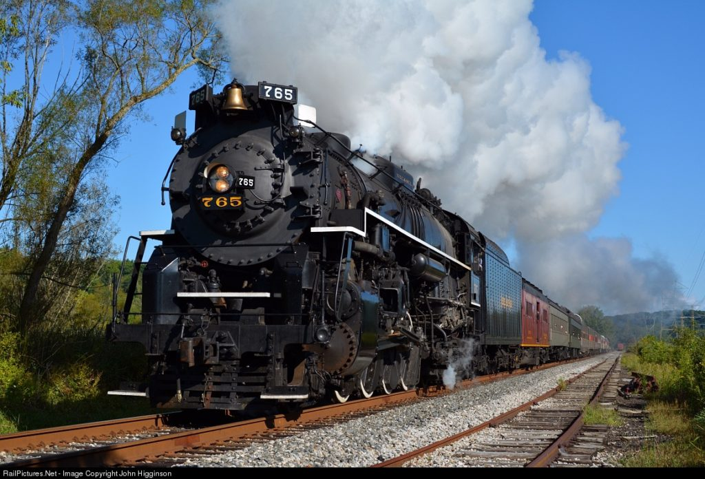 NKP 765 does her thing while visiting the Cuyahoga Valley... a Lima Berk at stride on a sunny Sunday morning was quite a sight to behold. Photo by John Higginson. 9/07/14
