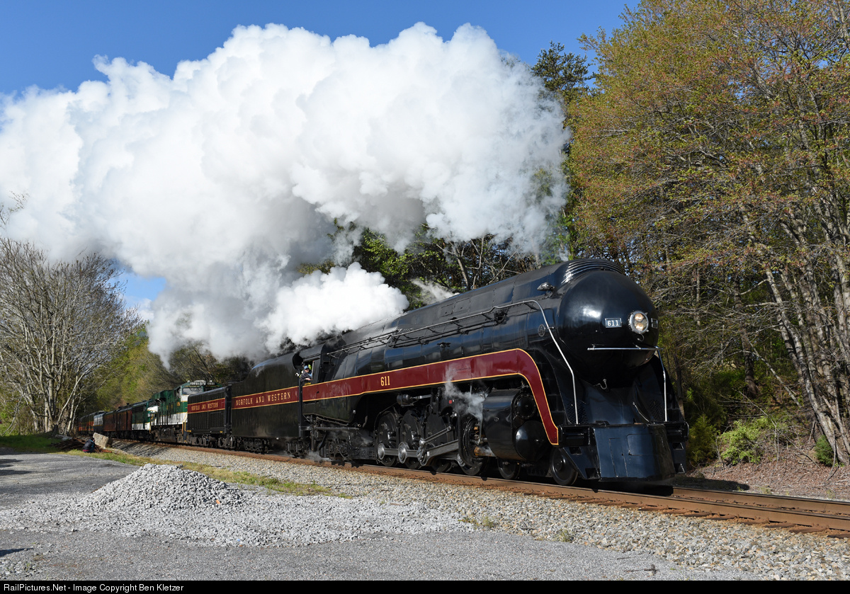April 09, 2016 Norfolk and Western Class J #611 thunders through the small town of Brown's Summit, NC on her way to Lynchburg, VA.